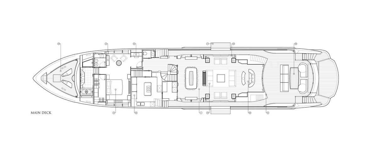 Main deck with VIP cabin