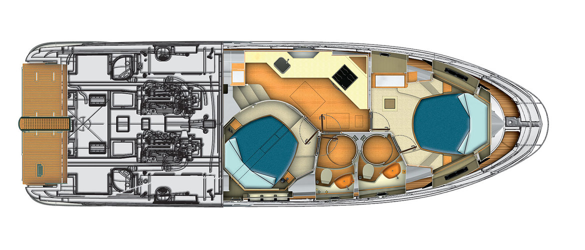 Lowerdeck (2 cabins version) Azimut Flybridge 45