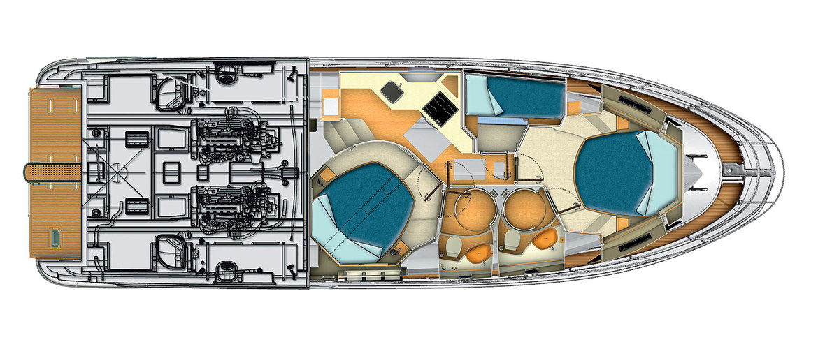 Lower deck (the version with 3 cabins) Azimut 45 (2012)