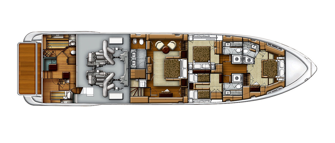 Lower deck of the Azimut 88 Flybridge