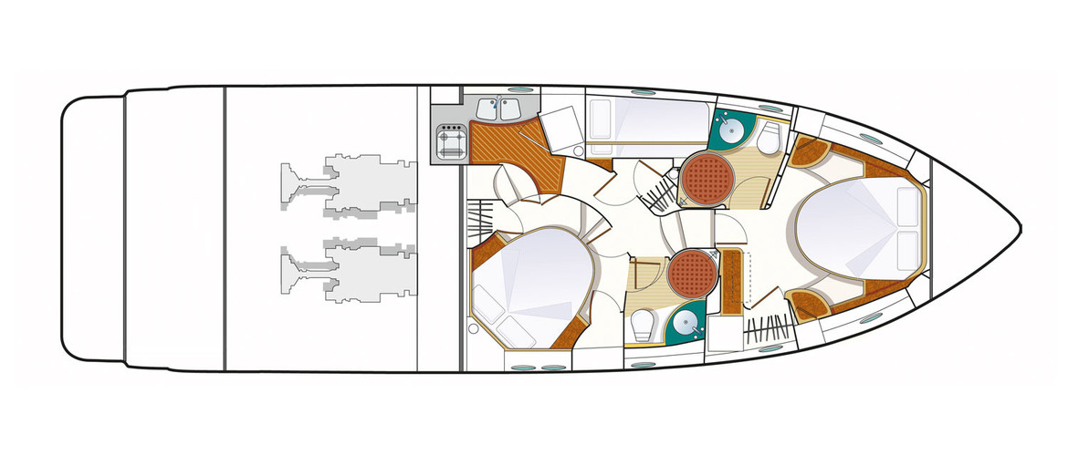 Lower deck (3 cabins)