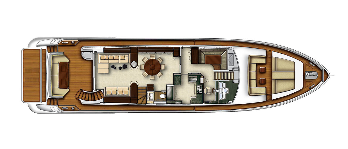 Main deck of the Azimut 88 Flybridge