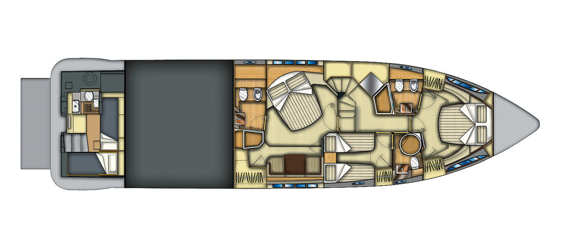 Lower deck Azimut Flybridge 64